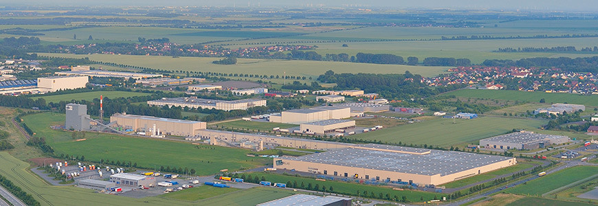 Aerial view of the Euroglas plant in Osterweddingen